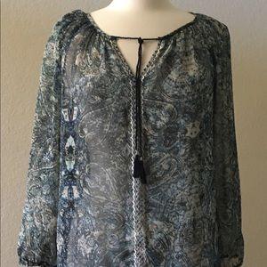 Sz medium Lucky brand sheer peasant top blouse